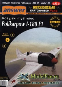 Answer. Model Kartonowy Fana 3-4/2005 - Polikarpov I-180 E1