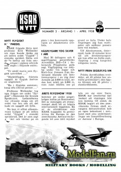ModellFlygNytt №3 (April 1958)